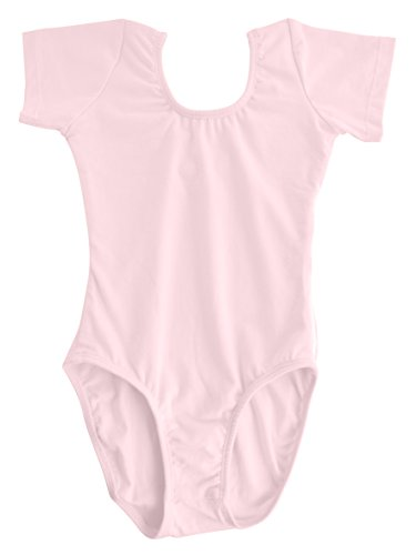 Dancina Toddler Dance Leotards Short Sleeve Girls Ballet in Stretchy Cotton 8 Ballet Pink