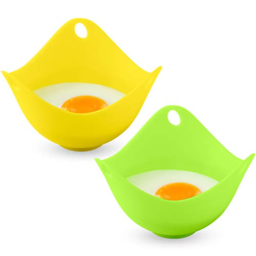 Tovieya Silicone Egg Poaching Cups with Build-in Ring Standers for Microwave or Stovetop Cooking, BPA Free, 2 Pack