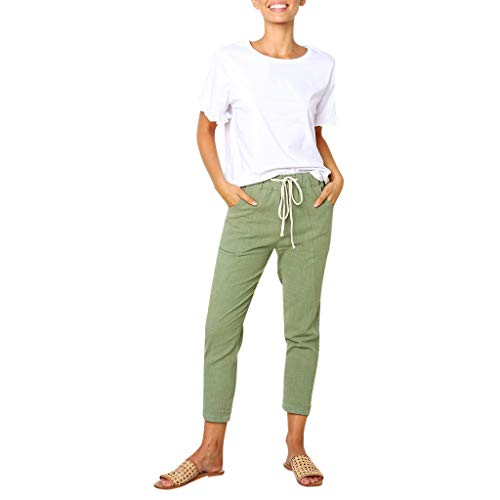 VEZAD Casual Solid Pockets Pants Women Waistband Bandage Mid-Waist Pencil Trousers