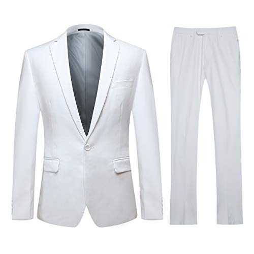 YFFUSHI Mens One Button Formal 2 Piece Suits Slim Fit Multi-Color Wedding Tuxedo White