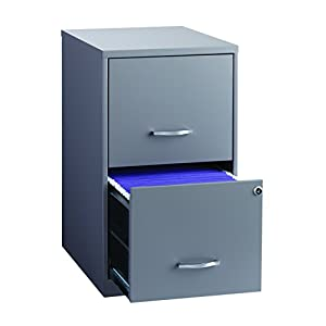 """Space Solutions 2-Drawer Metal File Cabinet with lock, 18"""" Deep x 14.25"""" Wide x 24.5"""" Tall - Gray"""