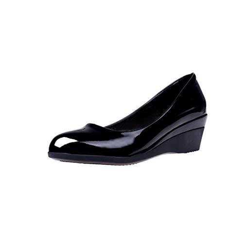 GanQuan2018 Women Wedge Heels Pumps Elegant Casual Round Toe Slip on Black Office Dress Shoes