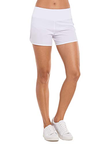 CRZ YOGA Women's Workout Sports Running Shorts Pants with Zip Pocket - 4 inch White 4''-R403 L(12)