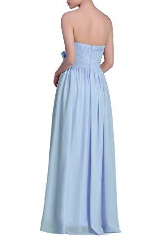 Adorona En Mousseline De Soie Femmes Une Robe Longue Ligne Sans Bretelles Bleu Barbeau