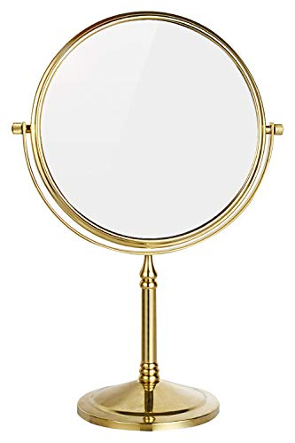DOWRY 8-Inch Tabletop Swivel Vanity Magnifying Mirror 10x Magnification,Gold Finish, Copper, Double - Mirrors Brass Bathroom Magnifying