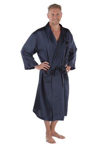 Men's 100% Silk Robe - Luxury Bathrobe for Him by Texeresilk (Turin, Midnight Blue, Small/Medium) Best Gifts for Dad Brother Son Nephew MS0103-MID-SM (Texeresilk Mens Robe)