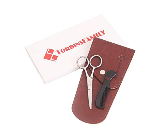 Beard Scissors Small and Comb with Case – Kit for Men Gift Set – for Trimming, Grooming, Cutting Mustache, Beards- by TorbinsFamily
