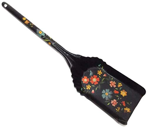 Vintage Metal Ash Shovel Fireplace Tool w/Hand-Painted Cute Tole Paint Flowers