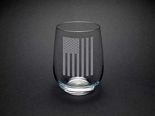 American Flag Stemless Wine Glass