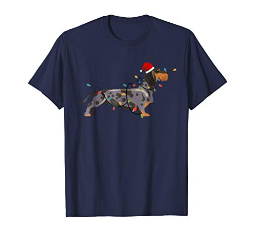 Dachshund Santa Hat Brown Dapple Shirt -