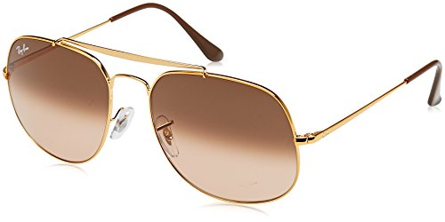 Ray-Ban RB3561 The General Square Sunglasses, Shiny Light Bronze/Pink Gradient Brown, 57 ()