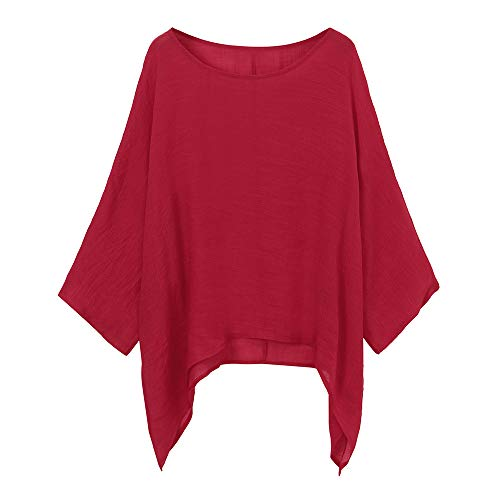 - Red Ta Women Cotton Linen Plus Size Pullover Shirt, Ladies Casual Crew Neck Loose Top Blouse Tunic Red