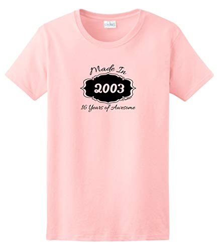 Sweet Sixteen Birthday Party Supplies 16th Birthday Gifts Made 2003 16 Years of Awesome Ladies T-Shirt Medium Light Pink ()
