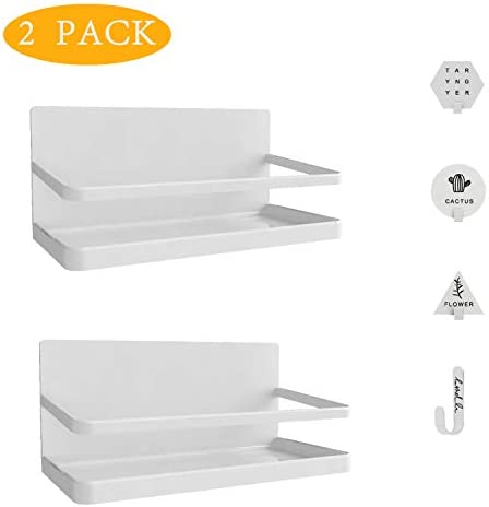 Magnetic Spice Rack,Refrigerator Spice Storage Shelf with 4 Self Adhesive Hooks,Single Tier Fridge Organizer for Storage Spices Sauce Salt Pepper Jars,Kitchen Space Saving Tool White,2 PACK