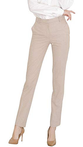 Career Pants Suit - Marycrafts Women's Work Dress Plaid Pants High Waist Bootcut Trousers L Beige