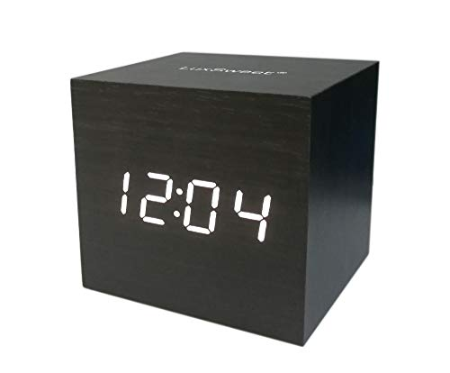 LuxSweet Wooden Multi-Functional Fashionable LED Smart Alarm Clock USB Interface Sound Control Alarm Clock Office Decoration Digital Alarm Clock Student Alarm Clock 100x70x40mm Brown