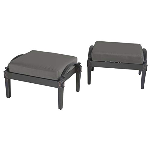 (RST Brands Astoria Club Ottomans with Cushions, Charcoal Grey, Set of)