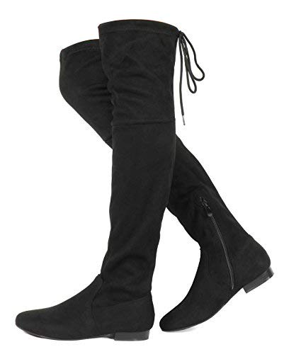DREAM PAIRS Women's Pauline Black Faux Suede Over The Knee Boots Size 6 M US (Ladies Heel Boots)