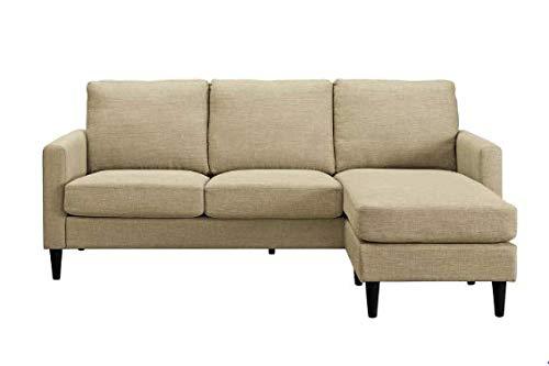 Verona Mid Century Reversible Sectional Gray Linen Look Fabric - Dorel Living ()
