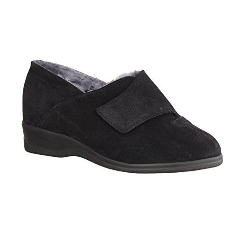 Slowlies 923-5098 - Casa - Zapatilla Zapatillas De Estar Por Casa De Mujer, Negro, cuero (terciopelo)