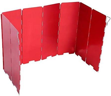 Okuguy ガスウインドシールドを調理8プレート折り畳み式ストーブ風防アウトドアキャンプアクセサリー(レッド)