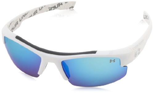 Under Armour Nitro L Youth Large, Deeper Lens Cut, Shiny White with Repeating UA Wordmark (Interior) Frame, with Charcoal Rubber, and Gray with Blue Multiflection Lens