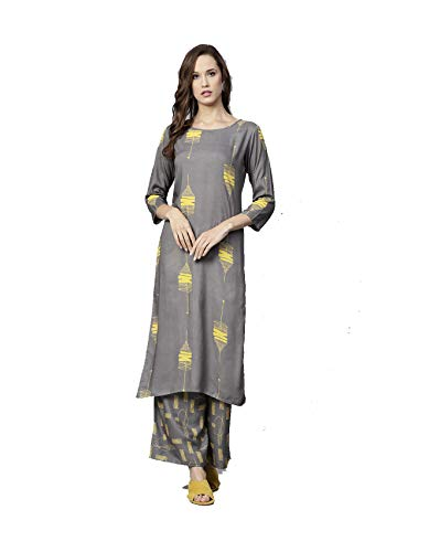 Women Grey & Mustard Yellow Printed Kurta with Palazzos Full Set Dream Angel Fashion (Medium-36)