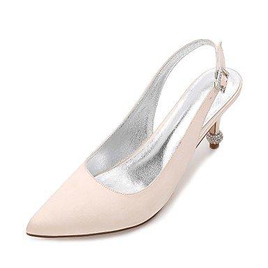 RTRY Las Mujeres'S Wedding Shoes Confort Satin Primavera Verano Boda Vestido De Noche &Amp; Rhinestone Bowknot Champán Heelivory Plana Rubí Azul US5.5 / EU36 / UK3.5 / CN35
