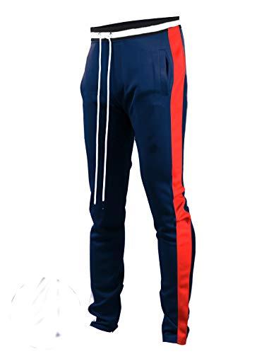 SCREENSHOTBRAND-S41700 Mens Hip Hop Premium Slim Fit Track Pants - Athletic Jogger Bottom with Side Taping-NV/RD-Medium (La La La La La Hip Hop)
