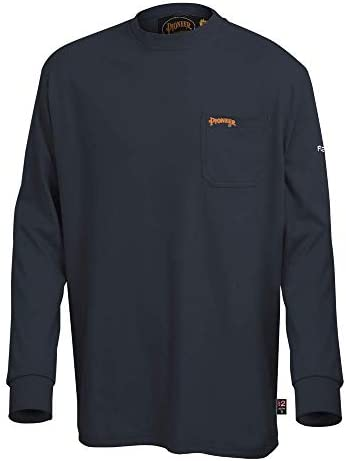 Pioneer Flame Resistant Cotton Long Sleeve Safety Work Shirt, Navy Blue, 2XL, V2580380-2XL