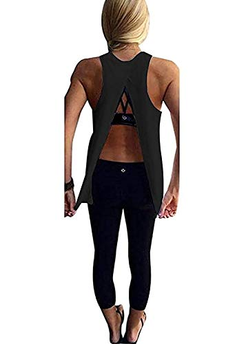 Mazonyi Womens Sexy Backless Yoga Tank Tops Solid Color Stretchy Loose Work Out Cloth Cute Open Back Club Shirts Sleeveless Vest Summer Tee Black L