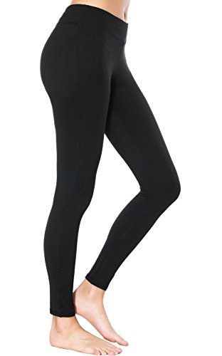 Dragon Fit Compression Yoga Pants Power Stretch Workout Leggings with High Waist Tummy Control (Large, Mid-Waist Black)
