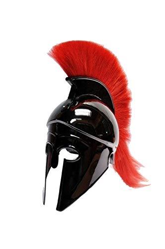 AnNafi Greek Corinthian Helmet with Red Plume|Wearable Helmet Armor|Roman Knight Spartan LARP Costume]()