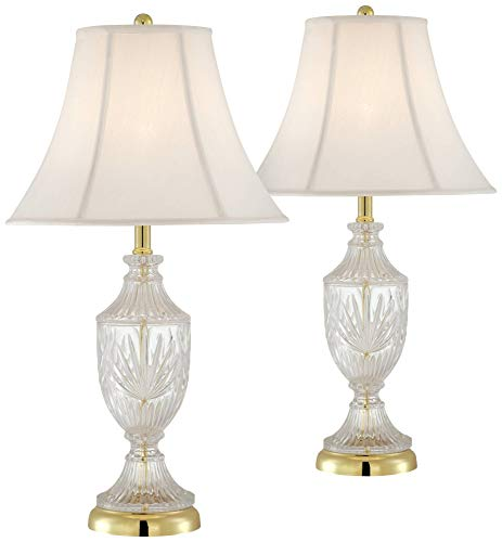 Traditional Table Lamps Set of 2 Cut Glass Urn Brass White Cream Bell Shade for Living Room Family Bedroom Bedside - Regency Hill