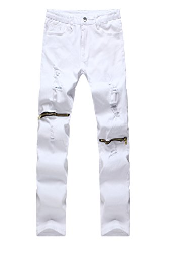 White skinny jeans with holes - Trenters.com