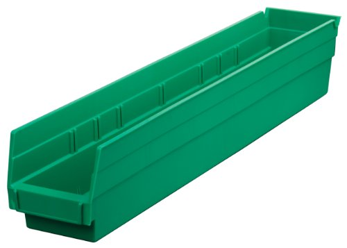 Akro-Mils 30124 24-Inch by 4-Inch by 4-Inch Plastic Nesting Shelf Bin Box, Green, Case of 12 ()