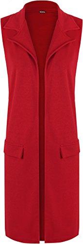 Waistcoat Manches Faux Rouge Cardigan WearAll Veste Sans 42 Tailles Poche Haut Femmes 56 Femmes Hauts nxxC6wqp8