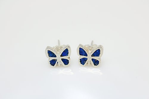 Butterfly Lapis Lazuli Micro Mosaic Sterling Silver Stud Earrings, Semi Precious Gemstone by Handmade Studio - Lapis Lazuli Tiles