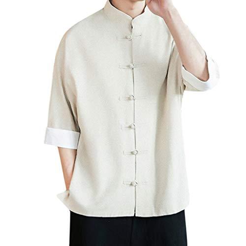 Toimothcn Chinese Style Kung Fu Shirts Men's Roll Sleeve Button Down Top Cotton&Linen Shirts(White,XXXXL)