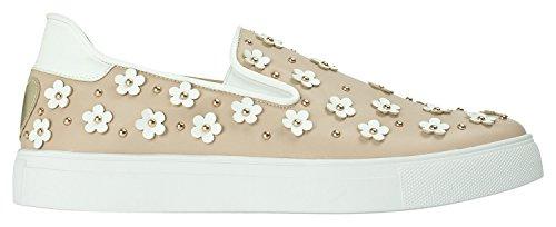 AnnaKastle Womens Flower Applique Slip-Ons Skate Sneakers Beige lvzbq02
