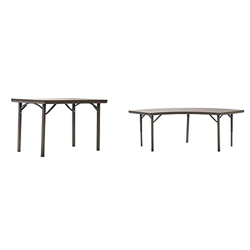 """ZOWN Commercial Bundle 48"""" (4 ft) Commercial Rectangular Banquet Folding Tables (4) And Crescent Folding Tables (4), Brown"""