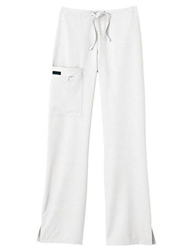 Classic Fit Collection by Jockey Women's Tri Blend Zipper Scrub Pants Small White ()