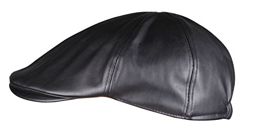 WDSKY PU Leather Newsboy Cap Adjustable Mens Hats Ivy Cabbie Driving Hat Black (Golfing Hats)