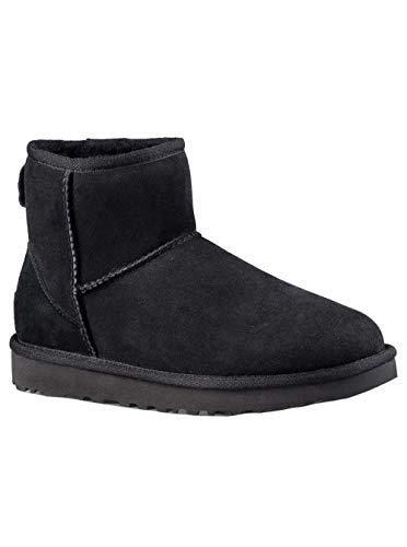 UGG Women's Classic Mini ll Twinface Sheepskin Suede Boot, Black, 7