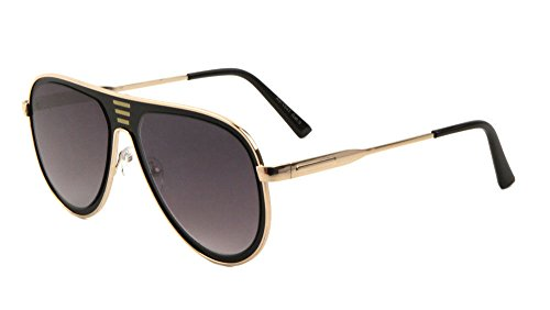 LUXE Sport Turbo Flat Top Solid Metal Frame Aviator Sunglasses (Rose Gold & Black Frame, Black - Gold Sunglasses Solid