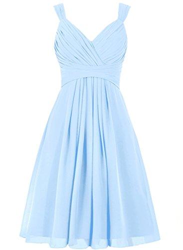 JAEDEN Mujer V cuello Vestidos de dama de honor Corto Gasa Vestido de la tarde Vestido de coctail Cielo azul