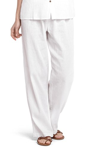 White by Nature Women's Gauze Cotton Beach Pants L (Gauze White)
