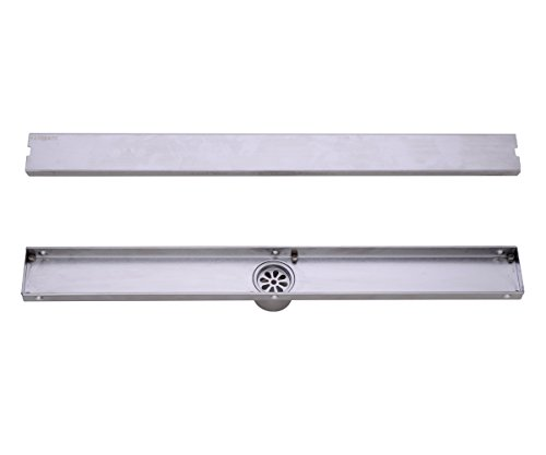 HANEBATH 40 Inch Long Linear Shower Drain with Tile Insert Grate , Brushed Stainless by HANEBATH