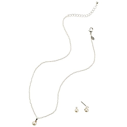 David's Bridal Pearl and Rhinestone Necklace and Earring Set Style 12670SET, Pearl