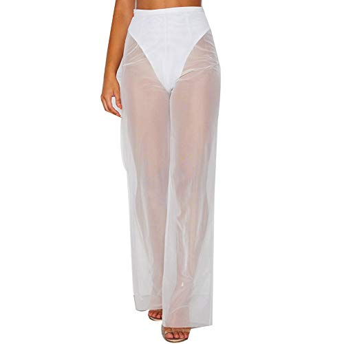 RUEWEY Women See Throug Mesh Flare Cover up Pants Swimsuit Bikini Bottom Cover up Elastic Waist Wide Leg Palazzo Trousers (XL, White-4) (Trousers Suit Pleated)